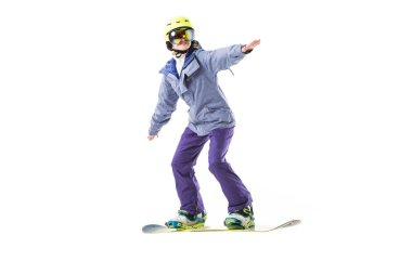 Adult woman in ski clothes snowboarding isolated on white stock vector