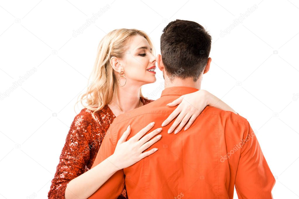 Back view of man hugging beautiful girlfriend isolated on white stock vector