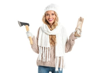 beautiful smiling woman holding axe and one log isolated on white