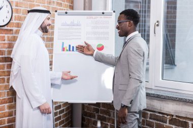 African american businessman showing charts and graphs on whiteboard
