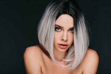 Beautiful sensual girl posing in grey wig, isolated on black stock vector