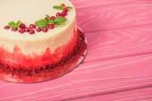 Fotografie zblízka bílý koláč s rybízem a lístky máty na růžové povrchu