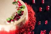 Fotografie Nahaufnahme eines weißen Kuchen verziert mit Minze in der Nähe von roten Johannisbeeren, isoliert auf schwarz