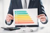 Fotografie oříznutý pohled podnikatel v obleku drží schémata a grafy v blízkosti zářivek a kalkulačka na bílém pozadí, koncepce energetické účinnosti
