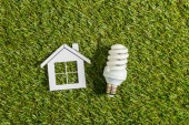 Photo top view of fluorescent lamp near paper house on green grass, energy efficiency at home concept