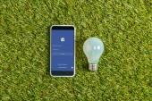 pohled shora zářivka poblíž smartphone s aplikaci facebook na obrazovce na zelené trávě, koncepce energetické účinnosti