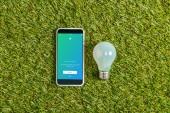 pohled shora na zářivku poblíž smartphone s twitter aplikace na obrazovce na zelené trávě, koncepce energetické účinnosti