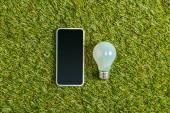 Fotografie pohled shora na zářivku poblíž smartphone s prázdnou obrazovkou na zelené trávě, koncepce energetické účinnosti