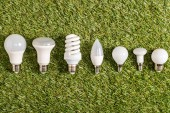 Fotografie flat lay of fluorescent lamps on green grass, energy efficiency concept