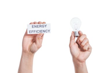 cropped view of male hands holding led lamp and paper card isolated on white, energy efficiency concept