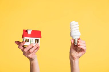 Cropped view of woman holding fluorescent lamp and house model in hands isolated on yellow, energy efficiency at home concept stock vector
