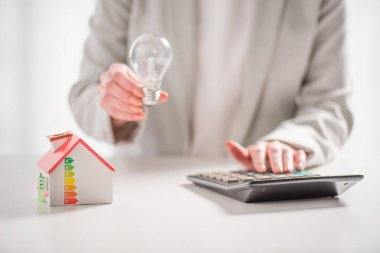 cropped view of woman holding led lamp near carton house and calculator on white background, energy efficiency at home concept
