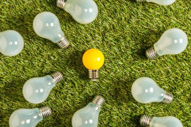 top view of fluorescent lamps near yellow lamp on green grass, energy efficiency concept