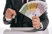oříznutý pohled podnikatel klíče a eurobankovky izolované na bílém, hypotéka koncept