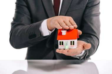 partial view of mortgage broker holding house model isolated on white
