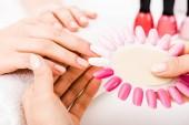 Částečný pohled manikérka drží nehty paletu zatímco žena zvolit barvu