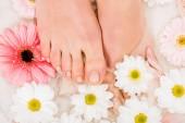 Pohled shora ženských nohou ve vodě s květinami