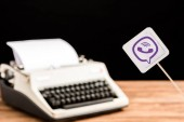 selective focus of viber app icon with typewriter on background