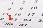 selective focus of red pin on number 30 in calendar