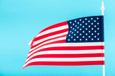 background of american flag isolated on blue