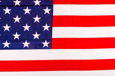 top view of national american flag with stars and stripes