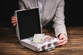 vágott lövés a gazdaság bőrönd széf, Orosz rubelt bankjegyek üzletasszony