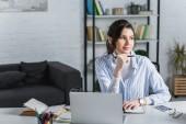 Atraktivní podnikatelka podržením pera, pomocí přenosného počítače a hledat dál