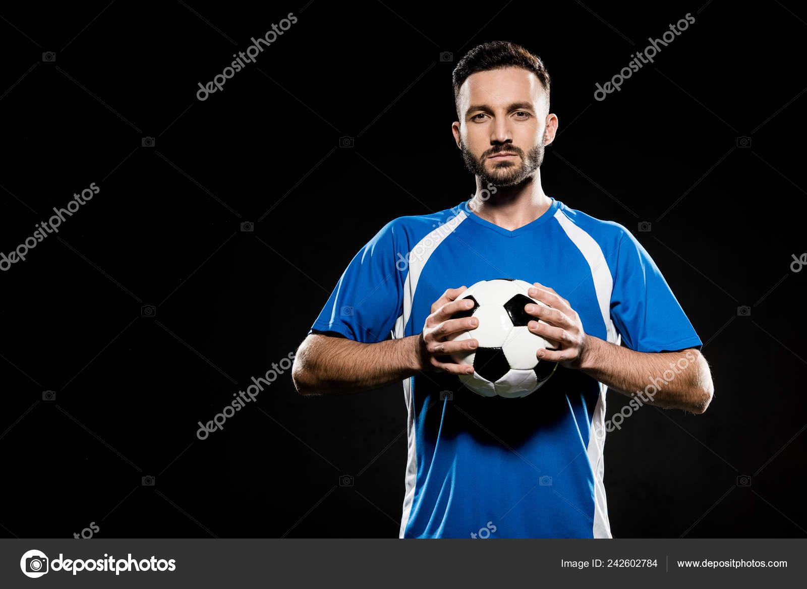 Fussballspieler Mit Ball Hand Isoliert Auf Schwarz