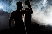 silhouette of muscular sportsman in boxing gloves on black with smoke