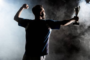 silhouette of champion holding trophy on black with smoke