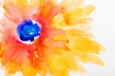 Top view of watercolor flower with yellow and orange leaves on white background stock vector