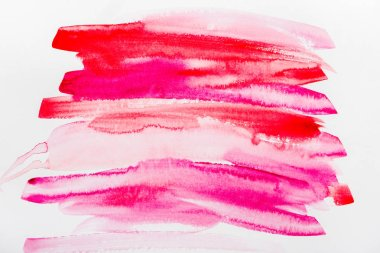 Top view of pink and red brushstrokes on white paper stock vector