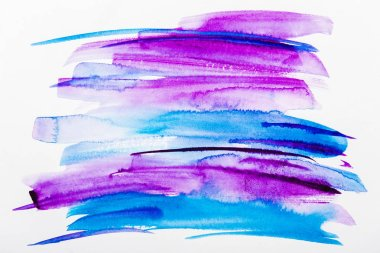 Top view of blue and purple brushstrokes on white background stock vector
