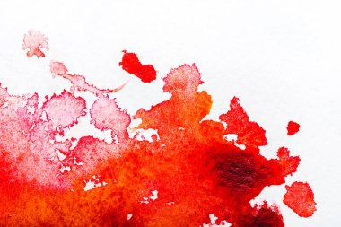 Top view of red watercolor spill on white background stock vector