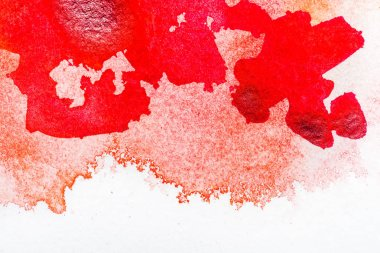 Top view of red watercolor spill on white background with copy space stock vector