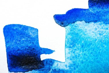 Top view of blue watercolor spill on white background with copy space stock vector