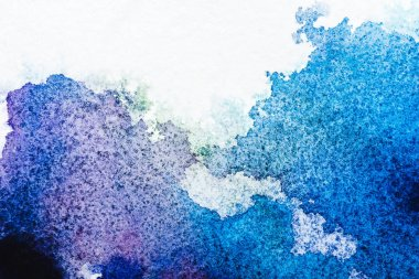 Top view of blue and grey watercolor spills on white paper stock vector
