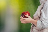 partial view of child holding red apple on blurred background, earth day concept