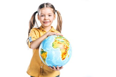 adorable smiling kid holding globe isolated on white, earth day concept