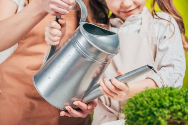 partial view of man and child with watering can on blurred background, earth day concept