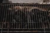 tmavě černé přírodní uhlí pod grilovací mřížky železa