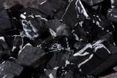 Fotografie Nahaufnahme von schwarz verbrannten strukturierte Holzkohle mit weißer Asche