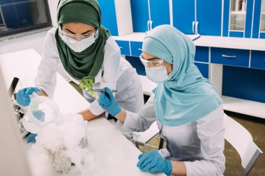 Female muslim scientists experimenting with dry ice and broccoli in chemical laboratory stock vector
