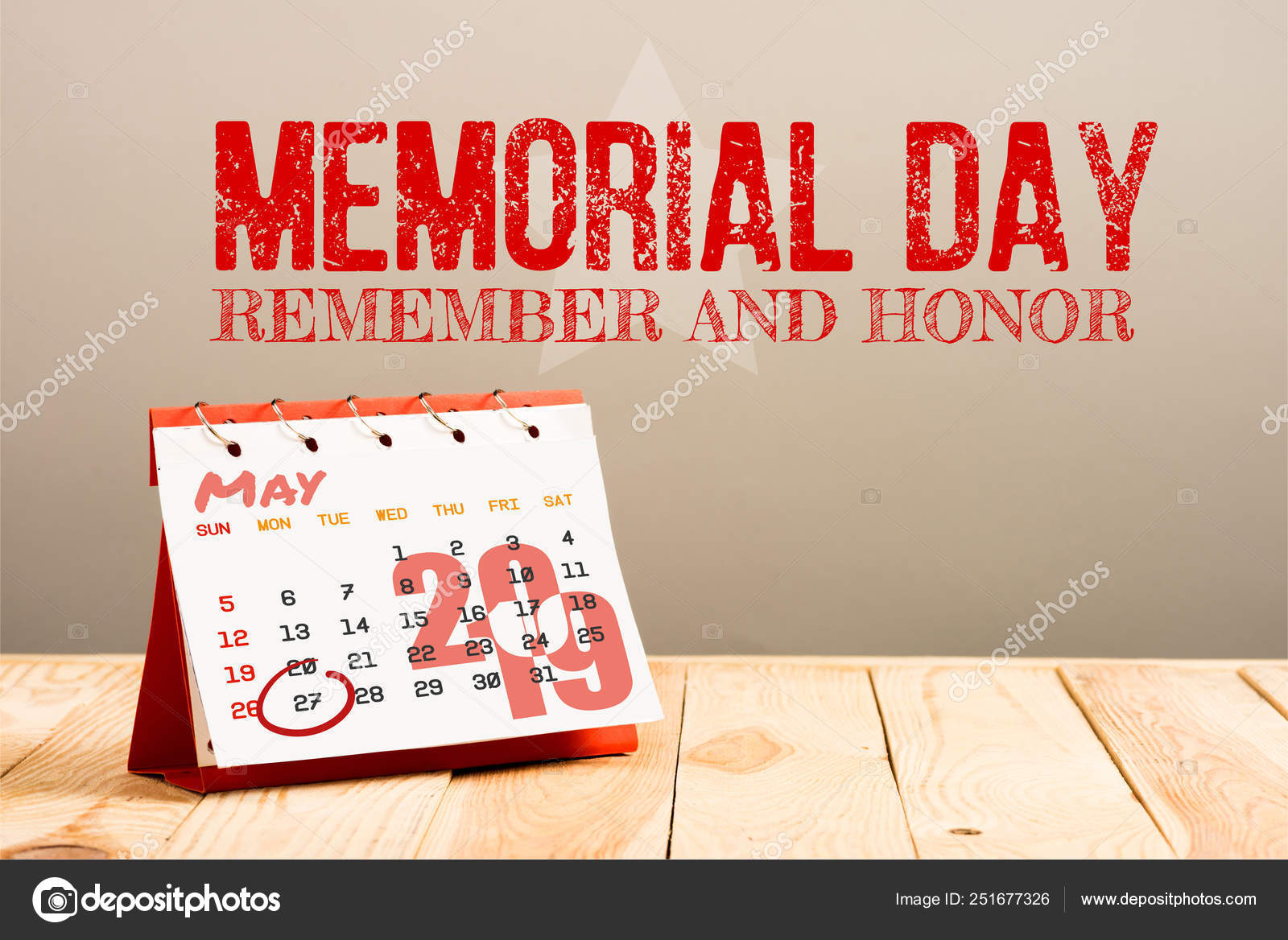 May 2019 Calendar Memorial Day Calendar 27Th May 2019 Date Isolated Beige Memorial Day Red
