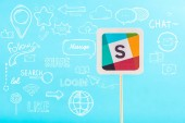 card with slack logo and social media icons isolated on blue