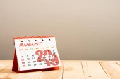 calendar with August 2019 page isolated on beige with copy space