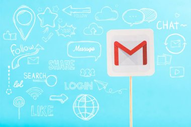 card with gmail logo and social media illustration isolated on blue