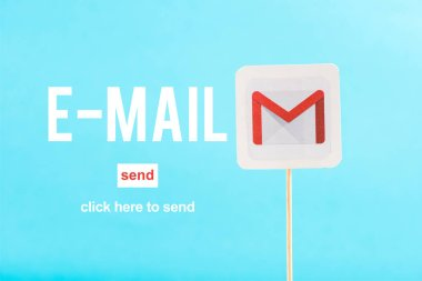 card with gmail logo, e-mail and send words isolated on blue