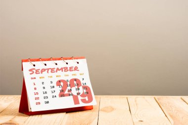 calendar with September 2019 page isolated on beige with copy space