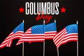 Amerikai zászlók, juharfalevél, Columbus a(z) elszigetelt fekete betűkkel